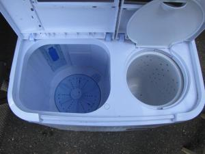 Wash tub on left, spin tub on right