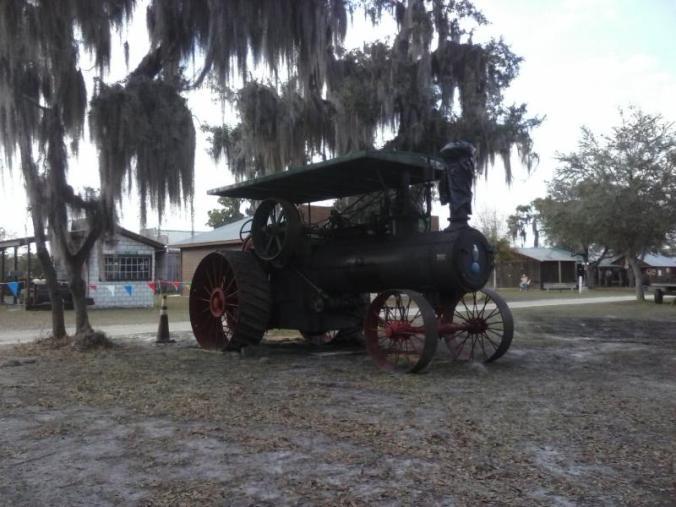 An old Case threshing machine