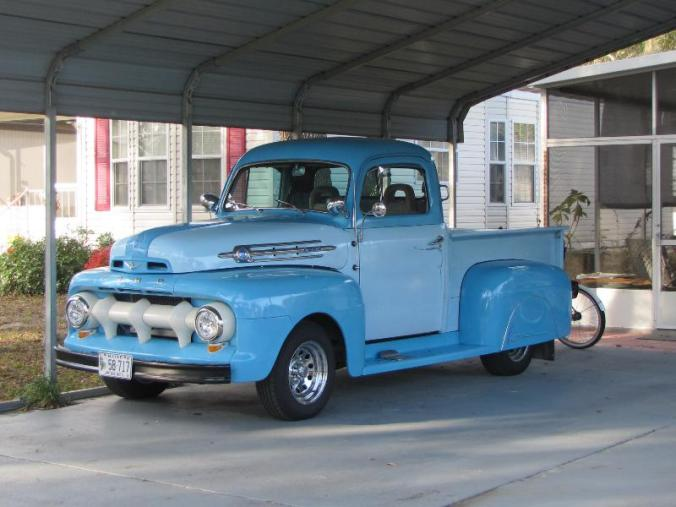 1952 Ford truck on an '87 Ranger frame with a 302 with a C4 tranny: parked across from our site