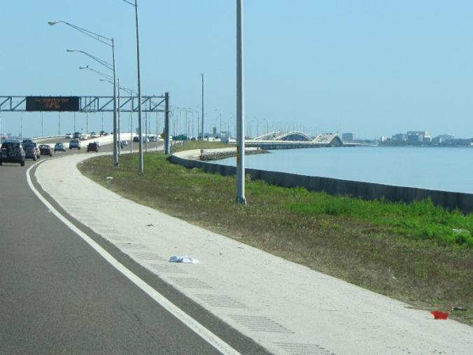Heading towards Howard Frankland Bridge and Tampa on I-275
