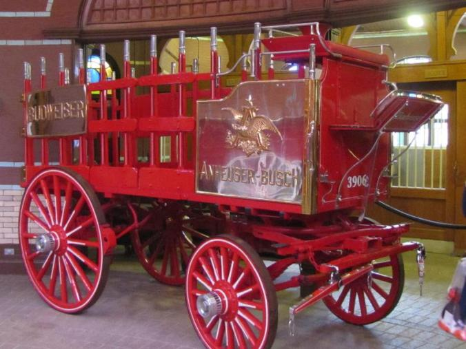 One of four Budweiser wagons in the stable rotundra