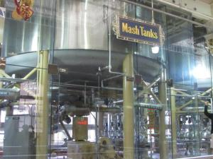 Mash tank in the brew house. The production areas were not only spotless, but the building interior painted and beautiful.