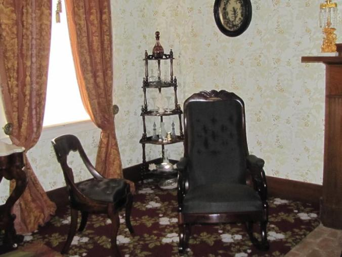 These parlor chairs are said to be Lincoln's in this house. The NPS guide said they went into storage after Lincoln moved to DC. and were recovered.