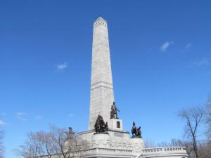 The upper portion of the Lincoln tomb