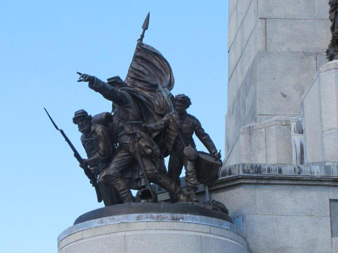 One of four statues representing the Infantry, Cavalry, Artillery and Navy that fought in the Civil War, and that Lincoln commanded.