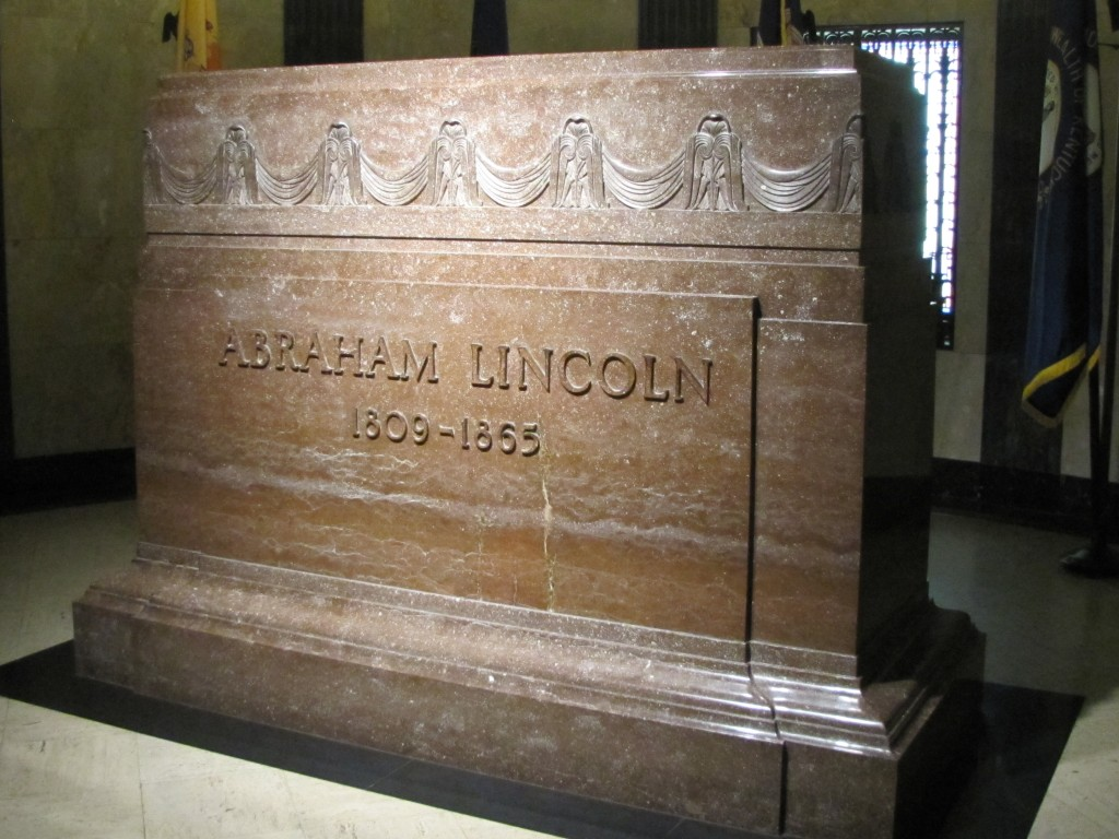Lincoln's casket is actually behind and 10 feet below this massive marker. It is encased in steel reinforced concrete.