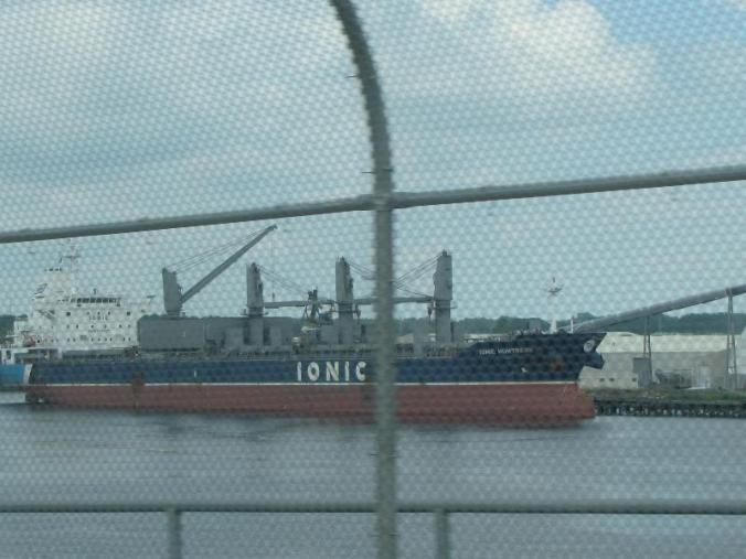 One of the large cargo ships