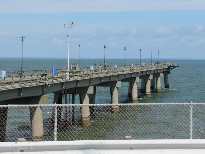 Fishing pier at the restaurant stop on the bridge