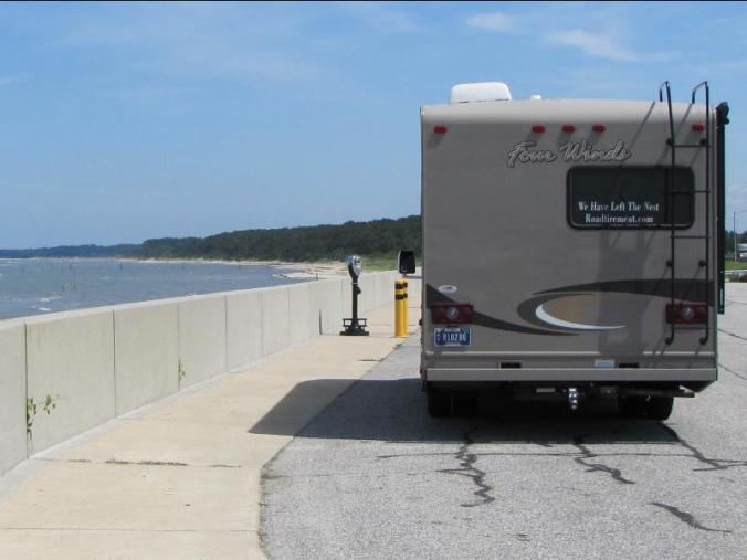 "Our coach parked at a ""Scenic viewpoint"" on Fishermans Island National Wildlife Preserve just at landfall from the CBBT"