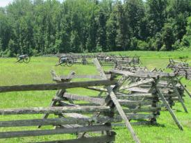 Fences are the Union lines, the Confederates attacked from the tree line.