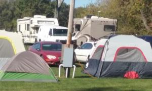 That's our RV on the right in the background, set up at the old school campground at Bridgeton Indiana