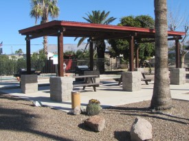 New picnic shelter, pool in background