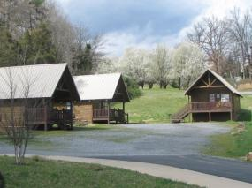 Cabins and beautiful landscaping