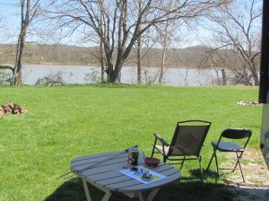 Our campsite next to the Ohio River