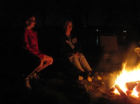 Enjoying the campfire & making S'mores