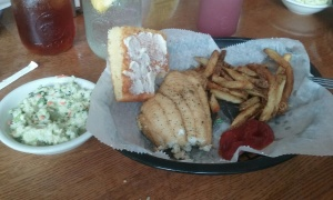 "My ""catch of the day"" with cornbread, hand cut fries and slaw."