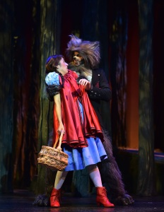 The Wolf (Timothy Ford) encounters Little Red Ridinghood (Jaddy Ciucci) as she journeys to her grandmother's house. Photo courtesy B&B media