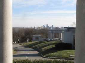 View from James Whitcomb Riley's grave: Indy skyline